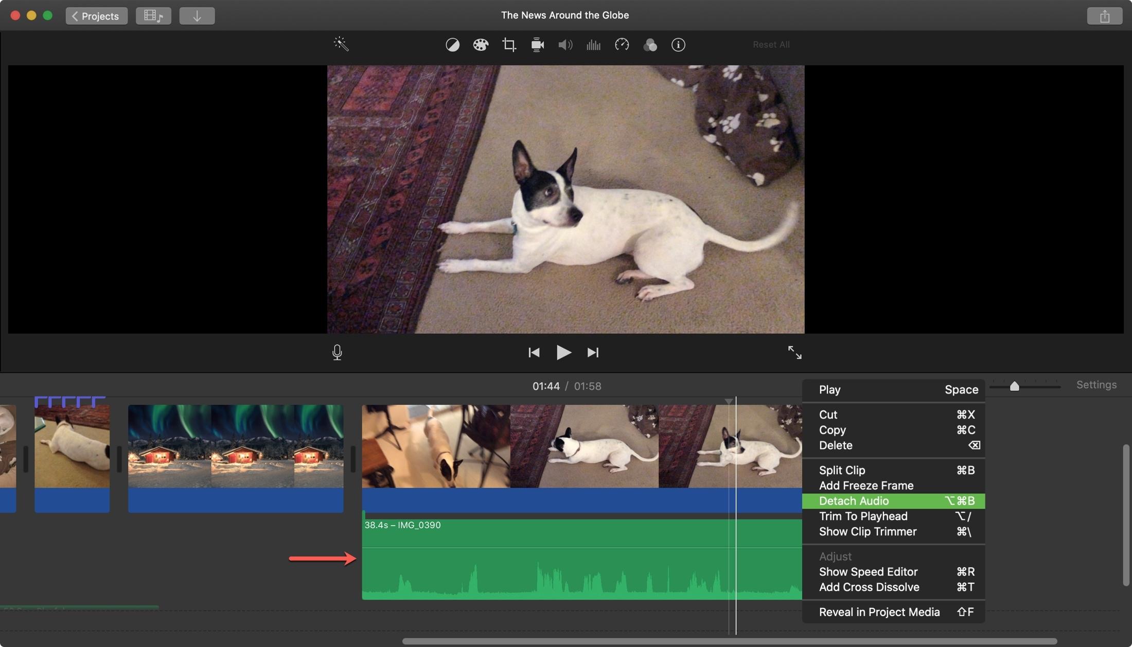 iMovie Detach Audio Own Clip