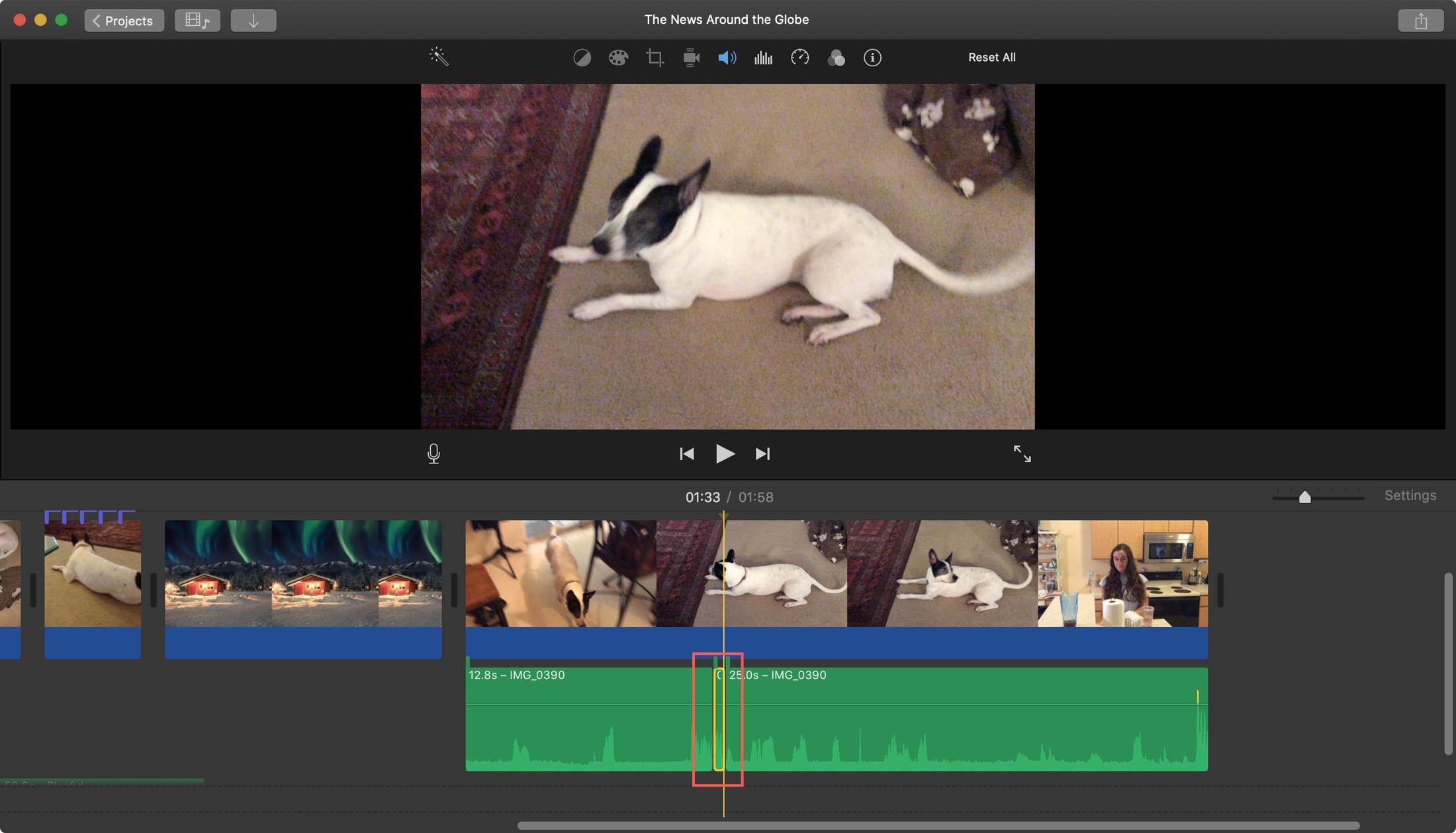 iMovie Isolated Audio Clip