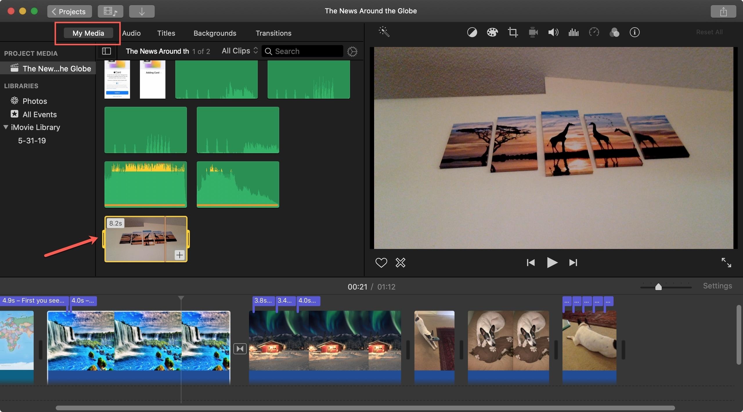 iMovie My Media Mac