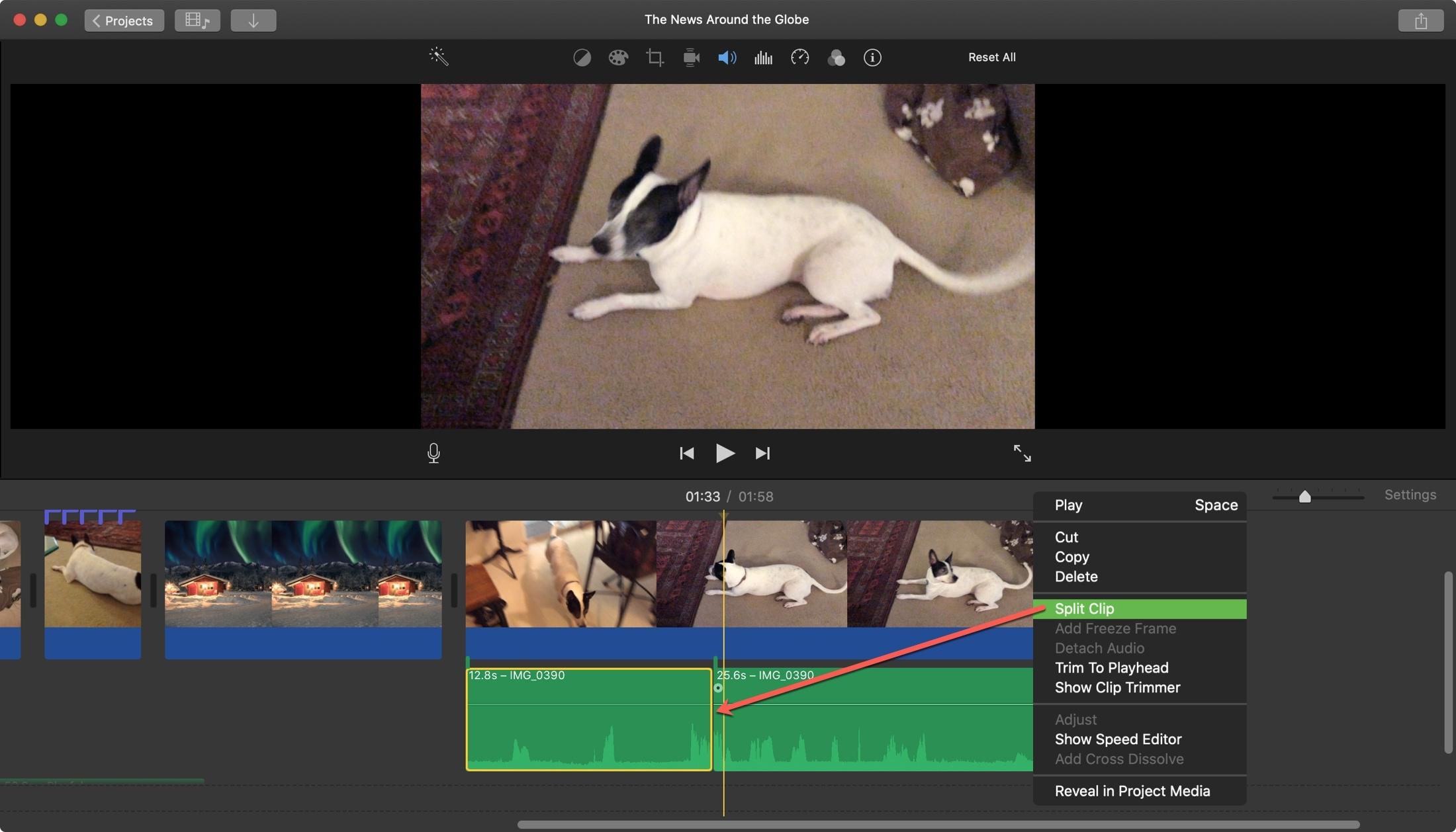 iMovie Split Clip Beginning