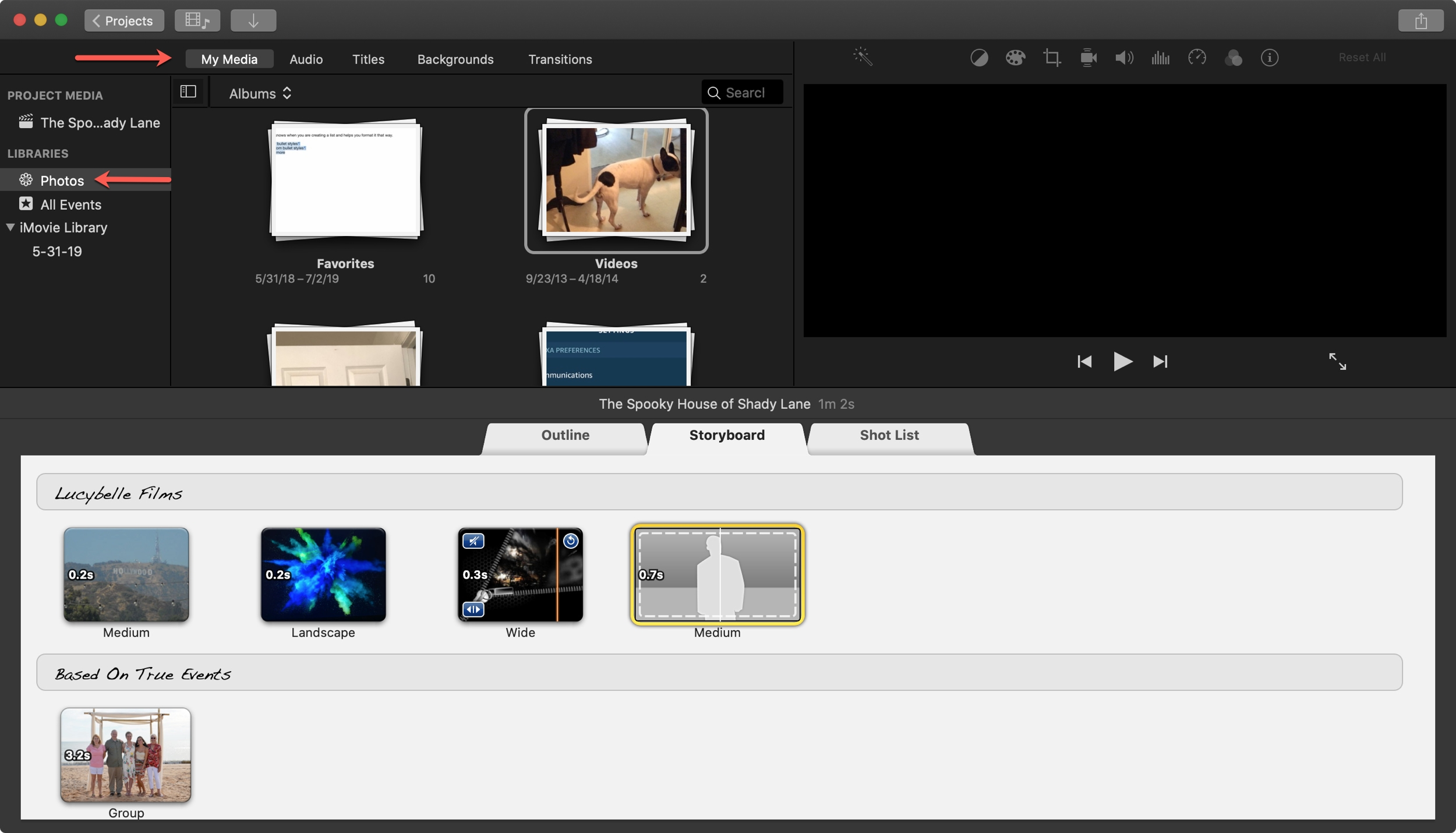 iMovie Storyboard Mac