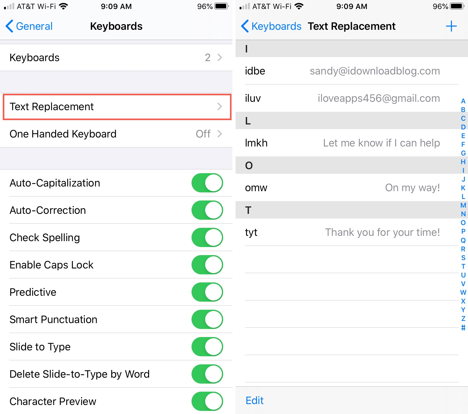 iPhone Text Replacement Settings