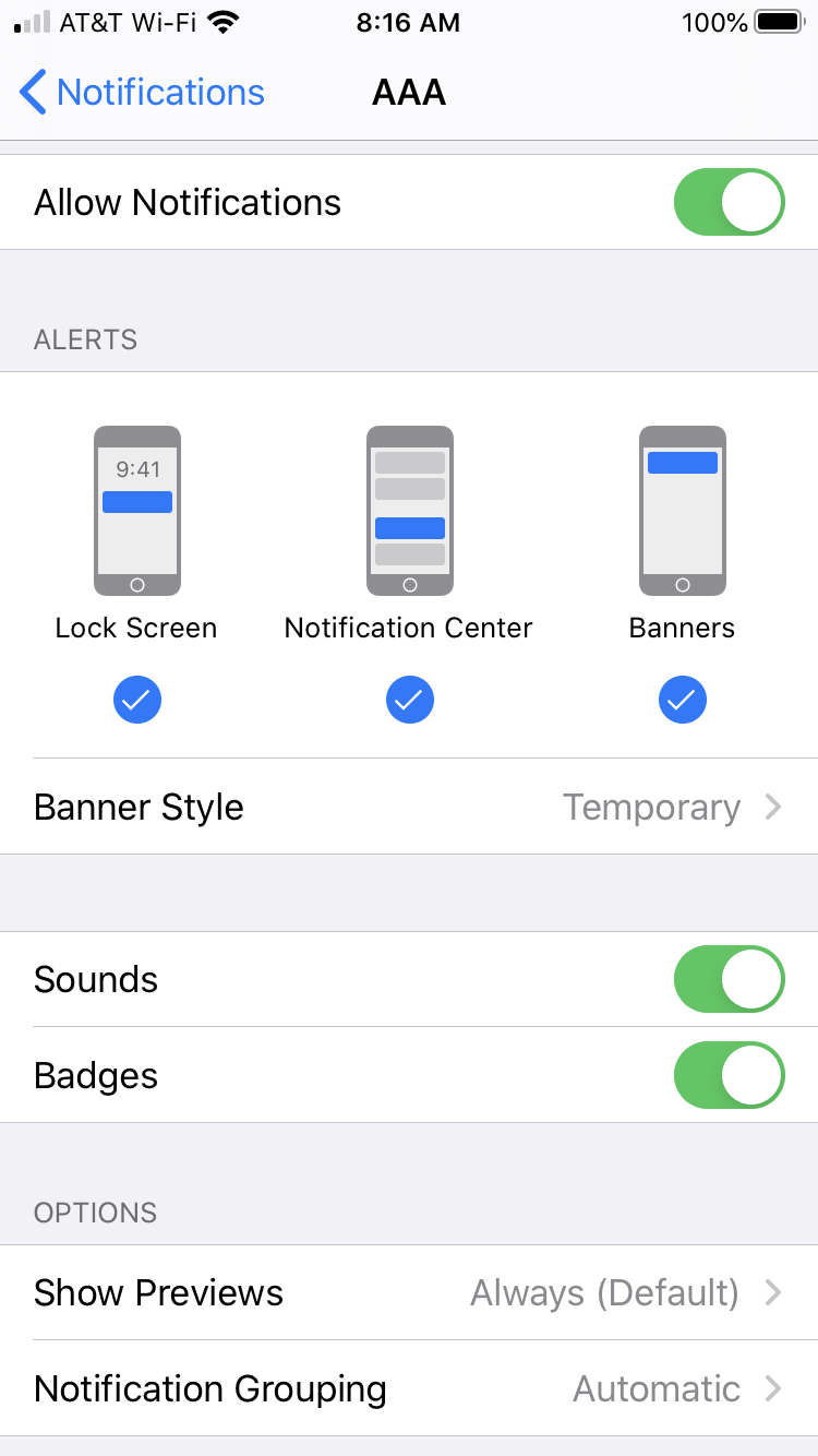 iPhone notifications screen