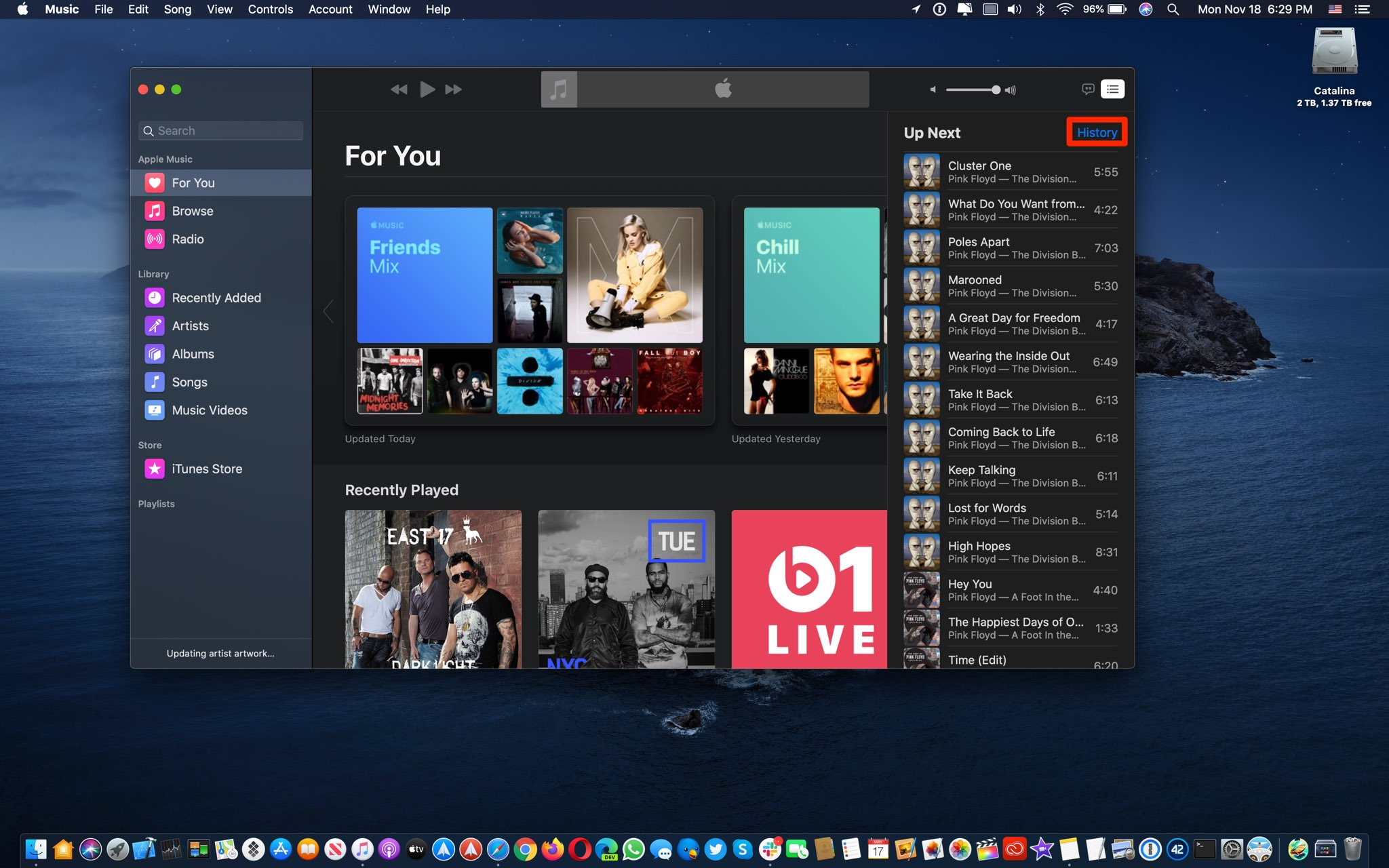 Apple Music listening history