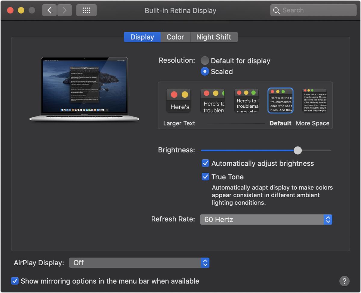 MacBook Pro Retina refresh rate