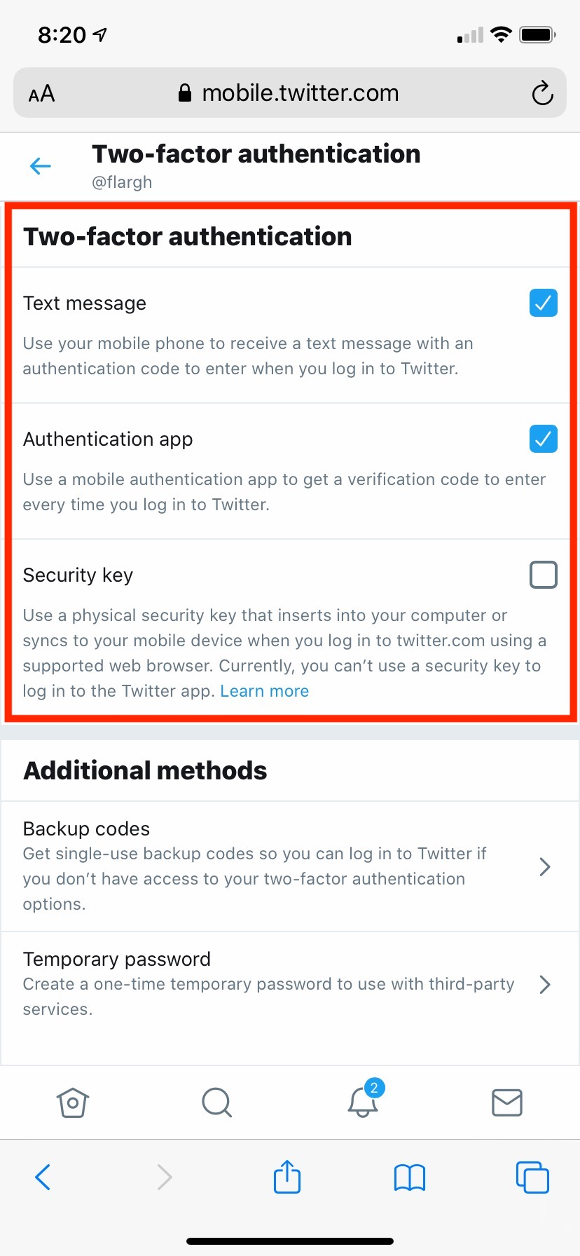 Twitter 2FA two-factor authentication