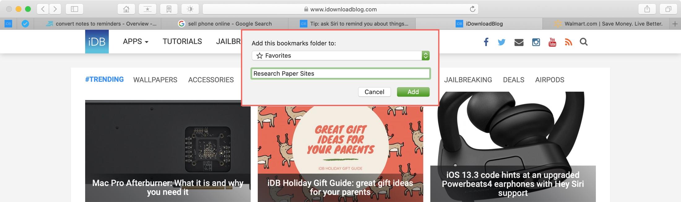 Add Bookmark Folder Safari Mac