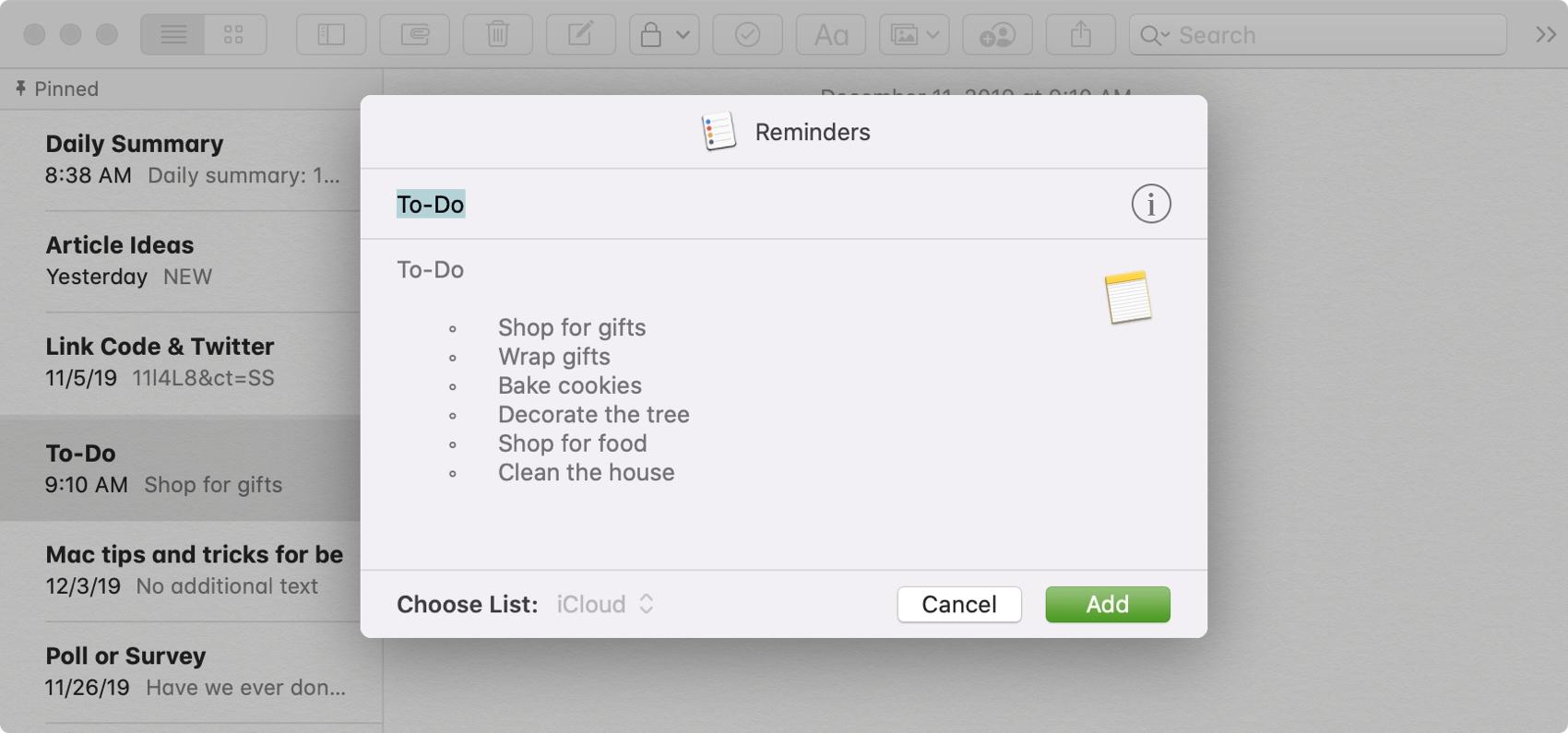 Add Note as Reminder Mac