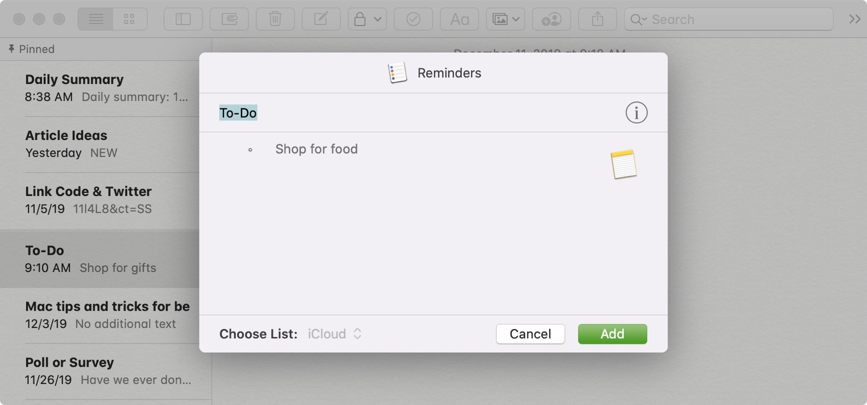 Add Part of Note as Reminder Mac