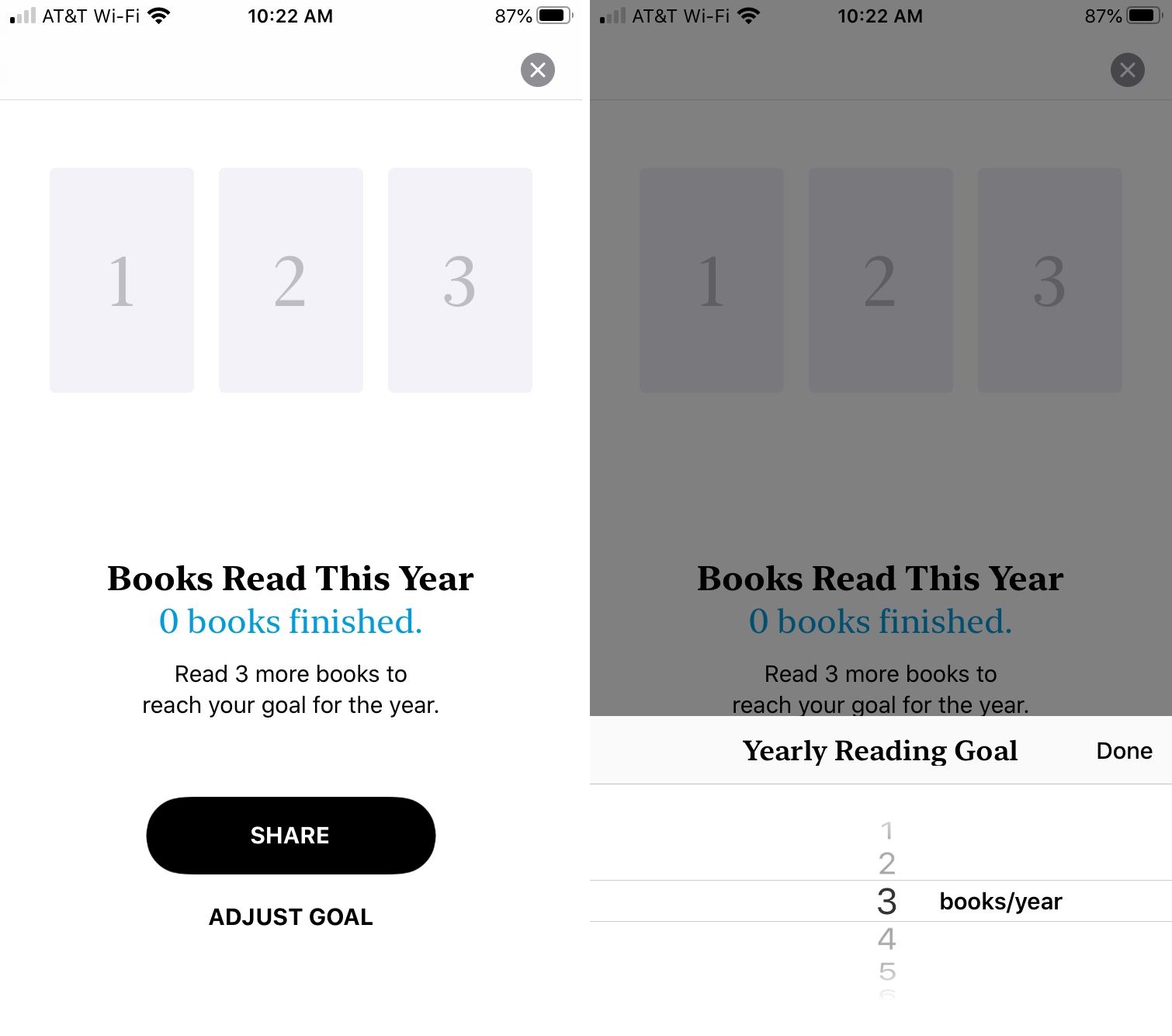 Adjust Yearly Reading Goal Books iPhone