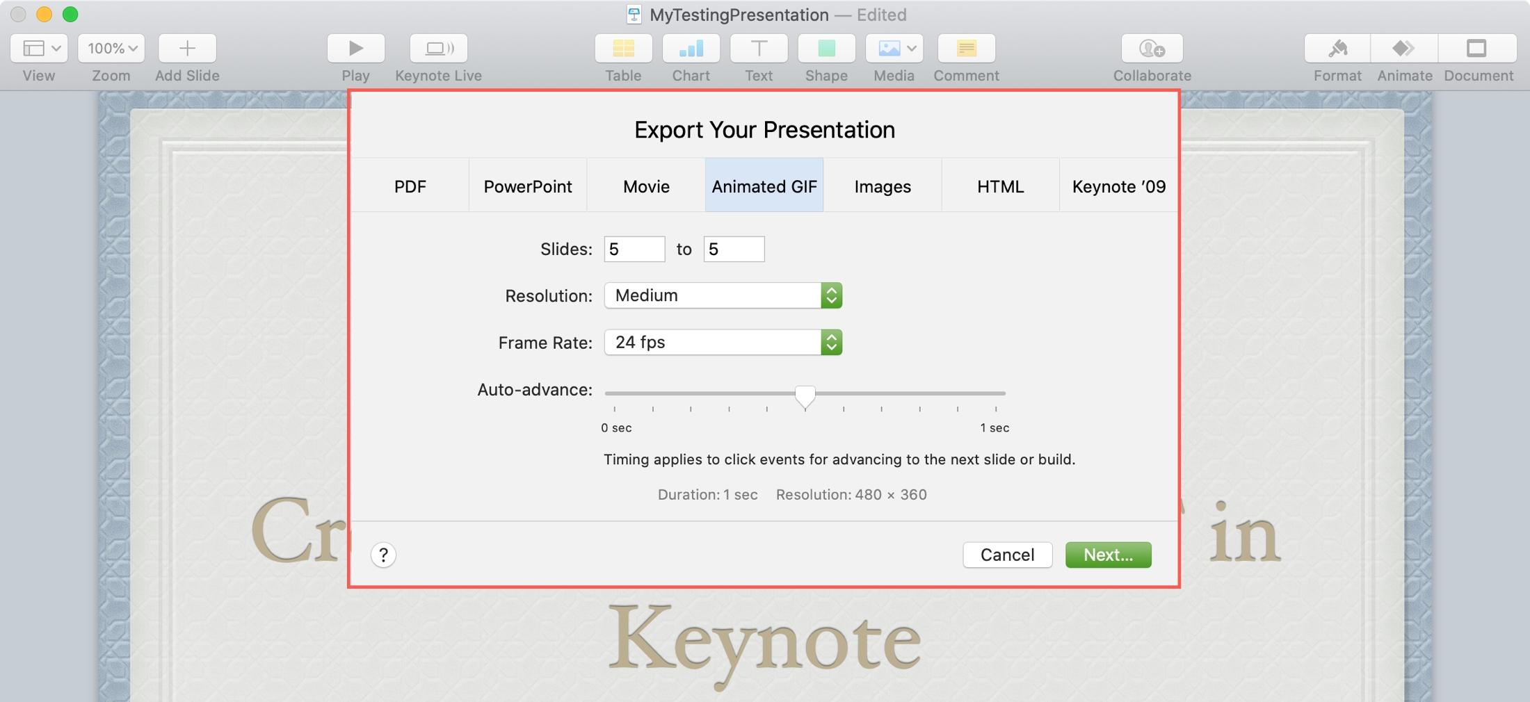 Animated GIF Settings in Keynote Mac