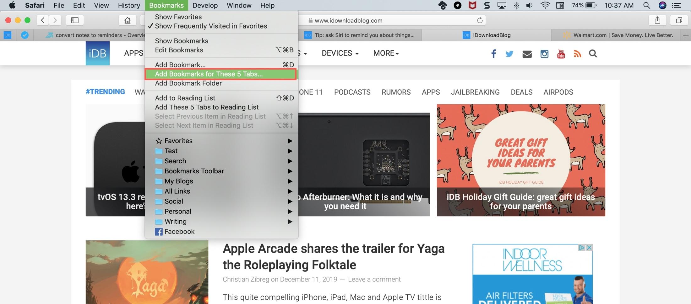 Bookmark These X Tabs Safari Mac