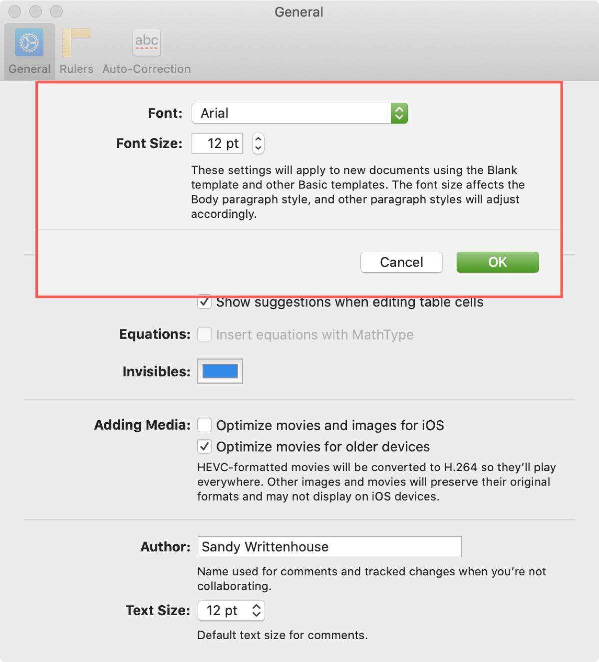 Change default font style size Pages Mac