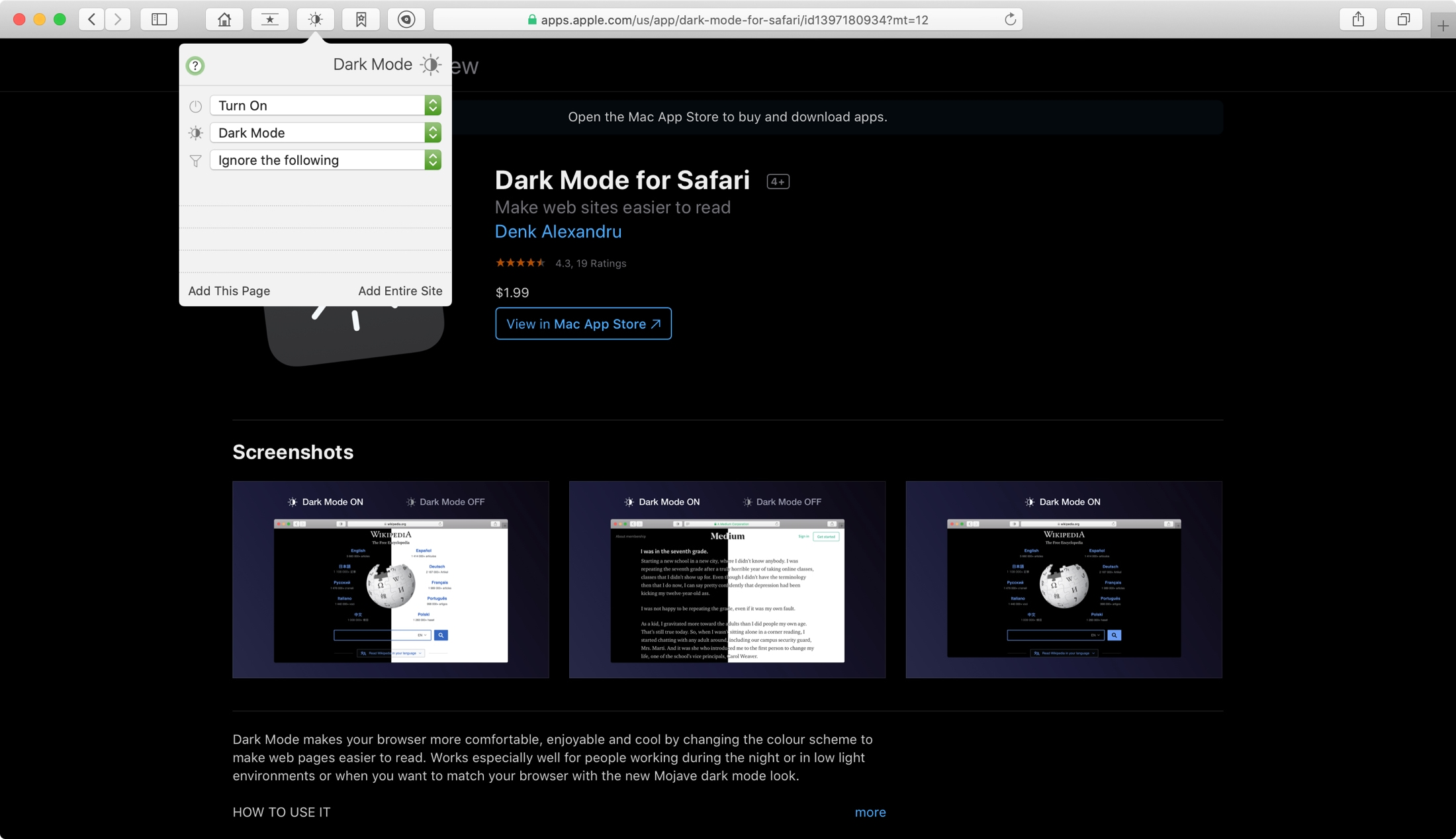 Dark Mode for Safari Mac