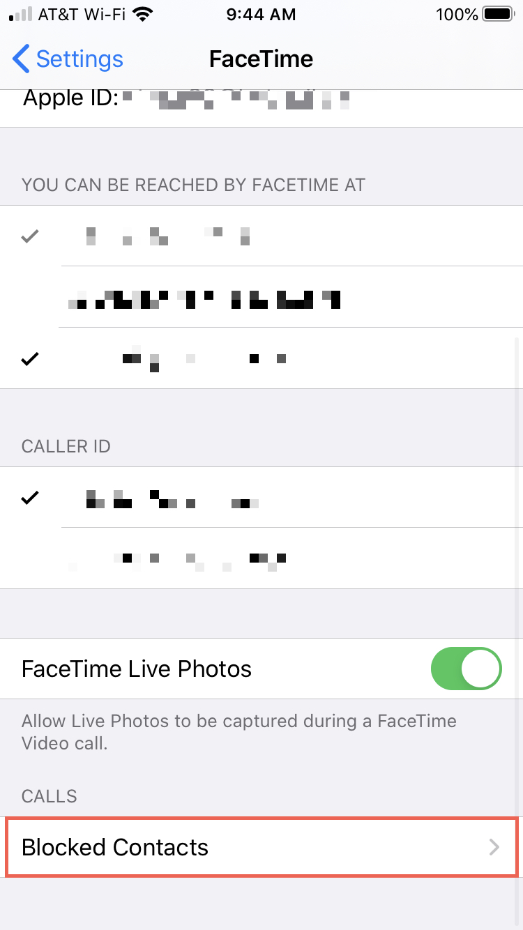 FaceTime Blocked Contacts iPhone