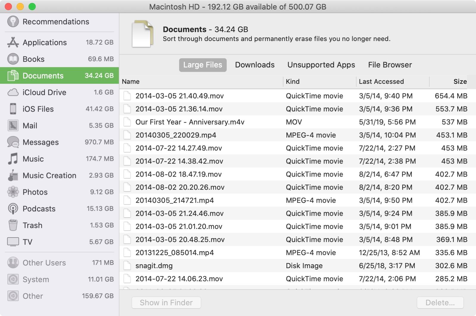 Find Large Files Mac Storage Management