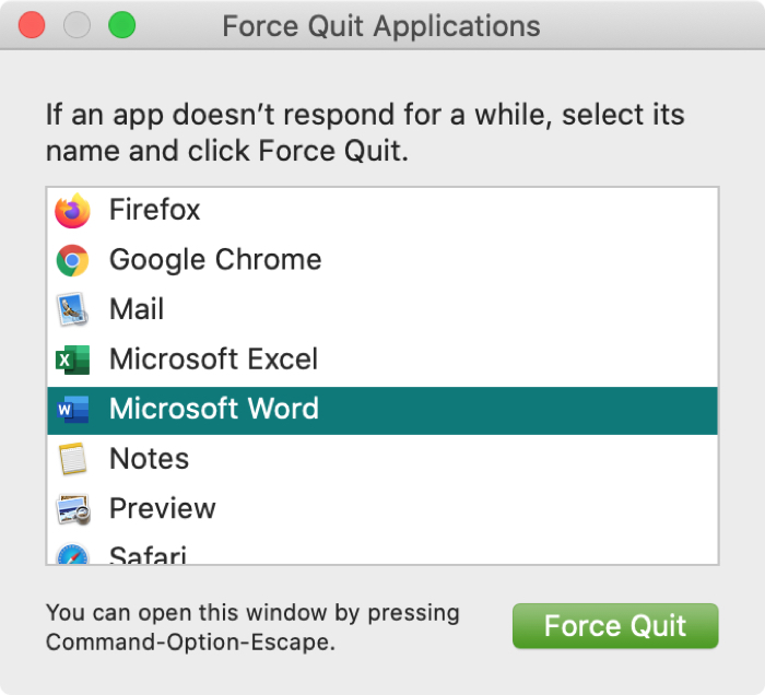 Force quit app window on Mac