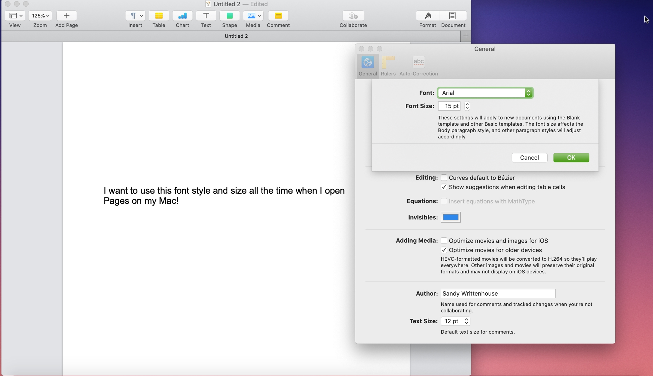 How to set default font style size Pages Mac