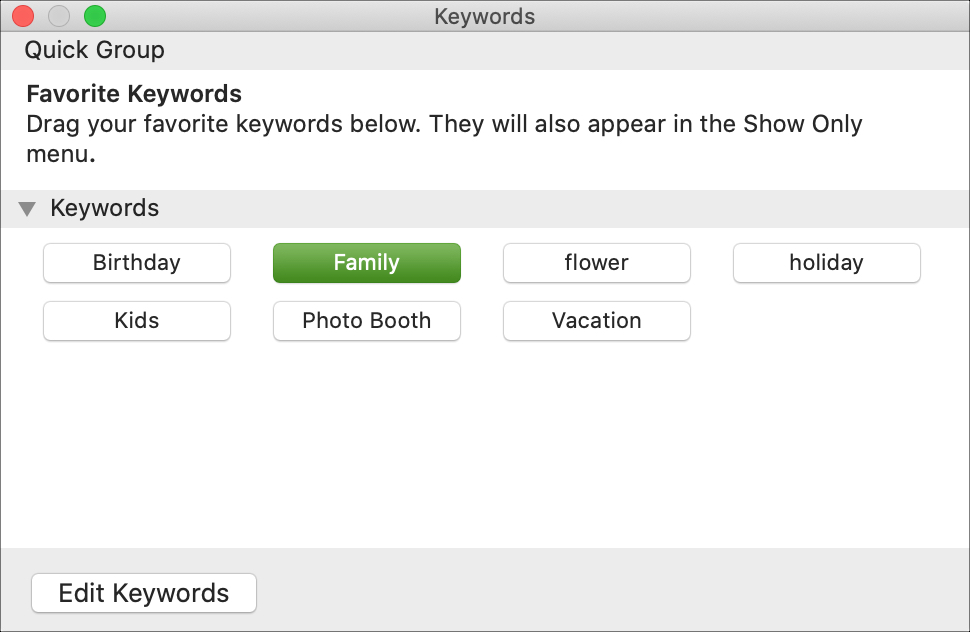 Keyword Manager Photos on Mac