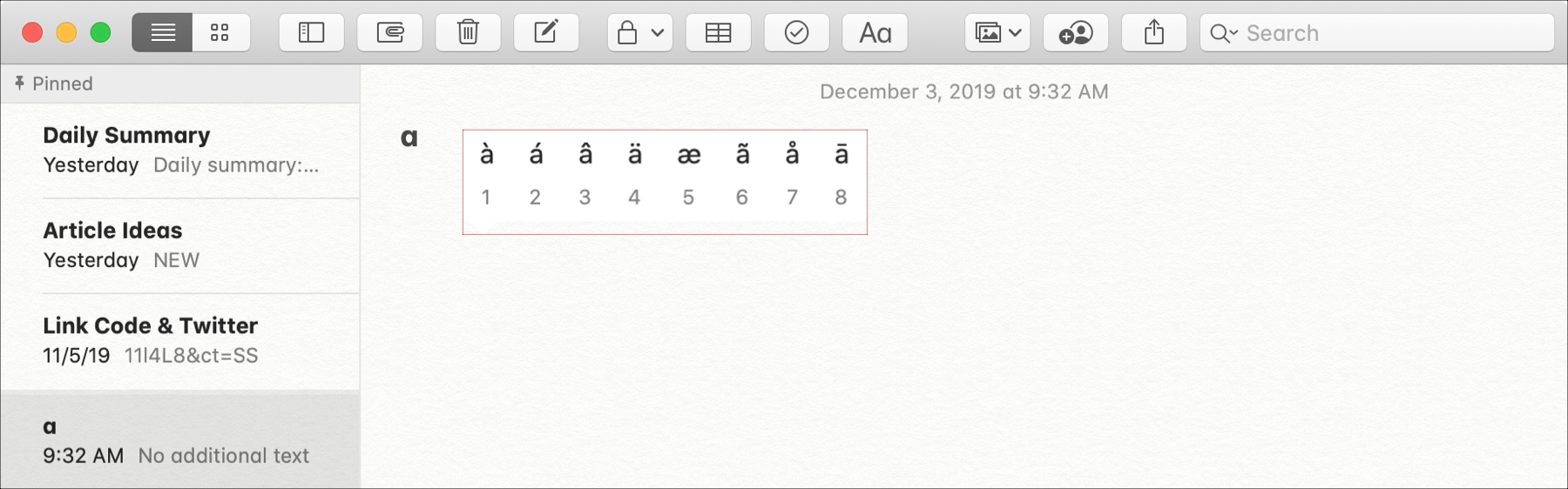 Letter accents in Notes on Mac