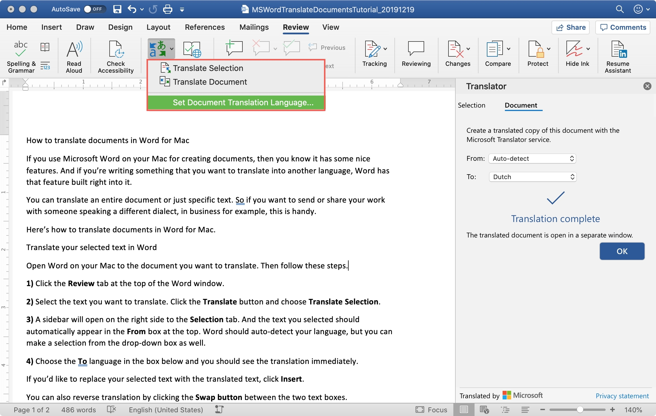 MS Word Select Translation Language Mac