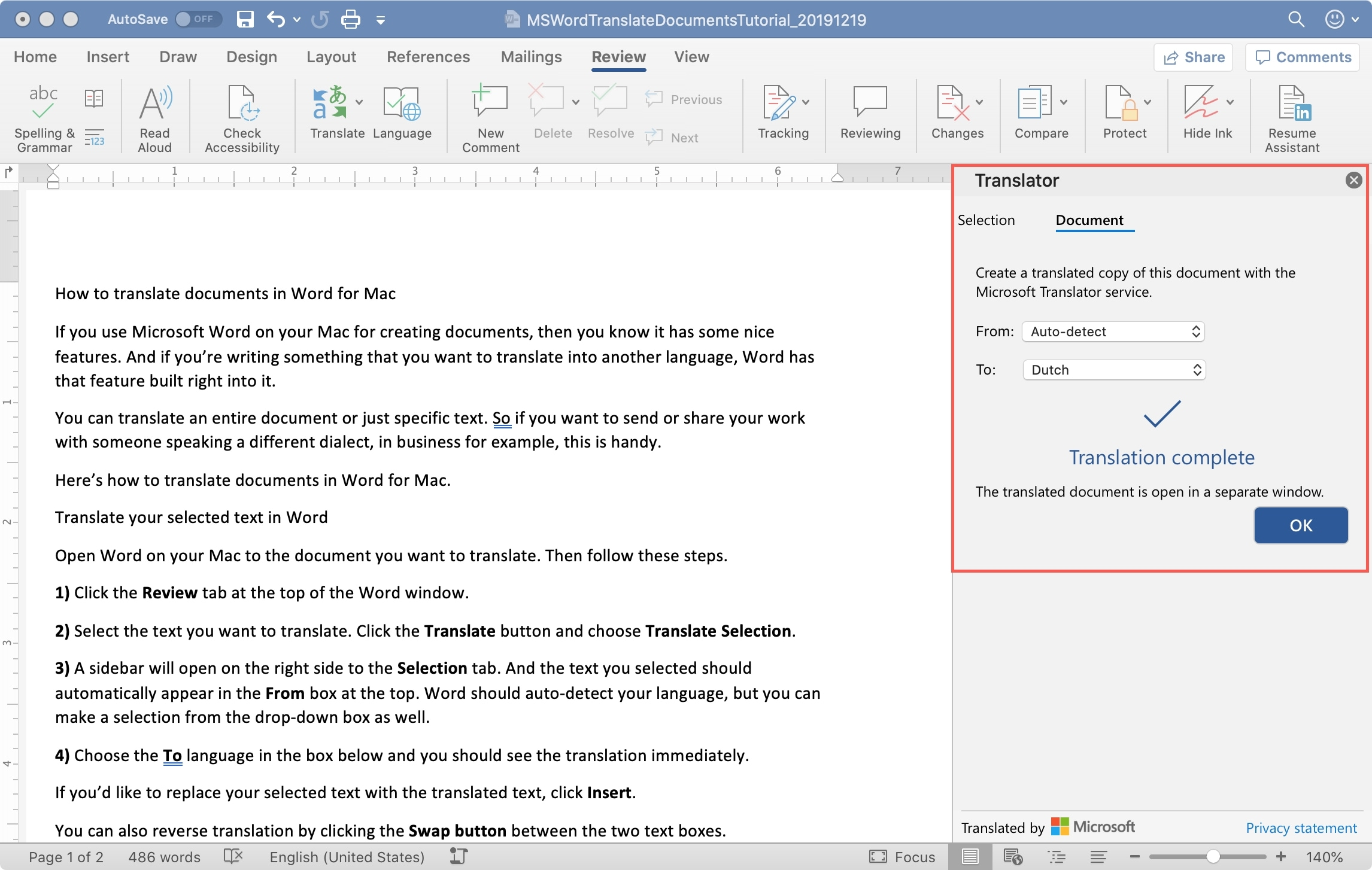 MS Word Translate Document Mac