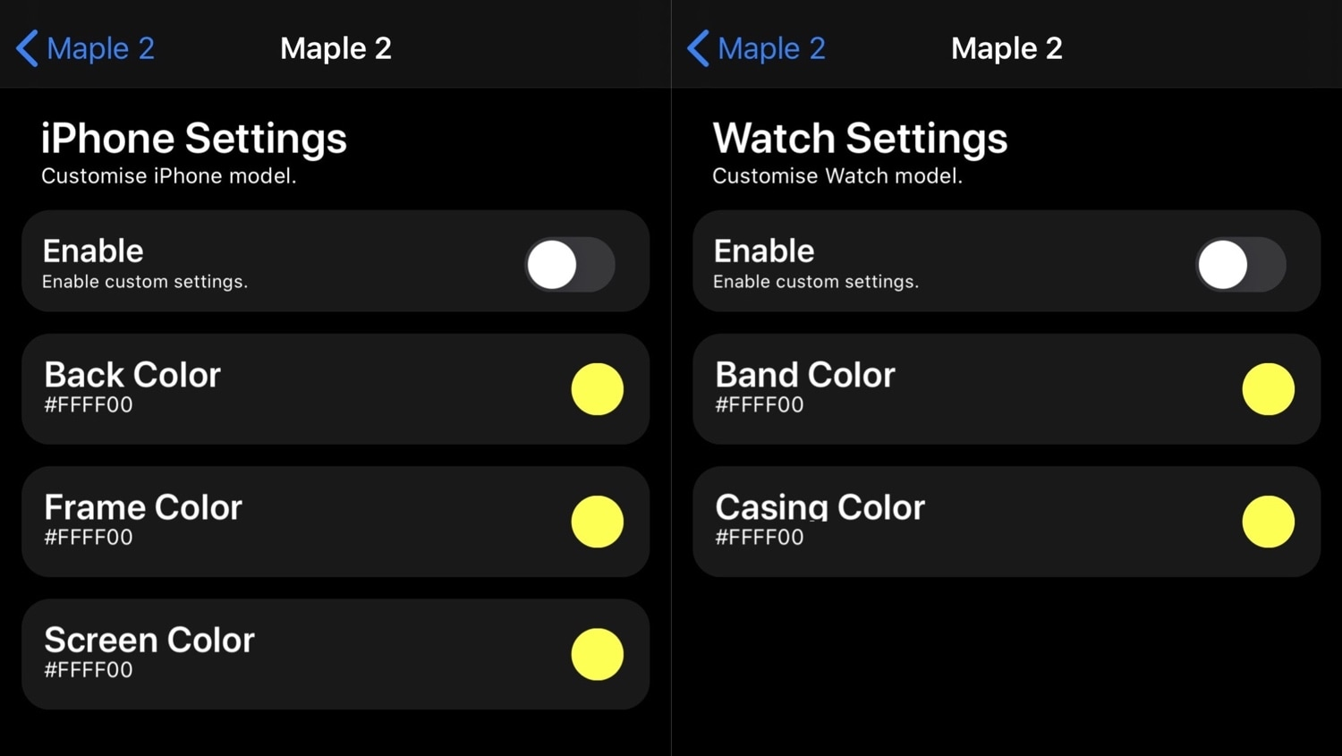 Maple 2 Settings expanded