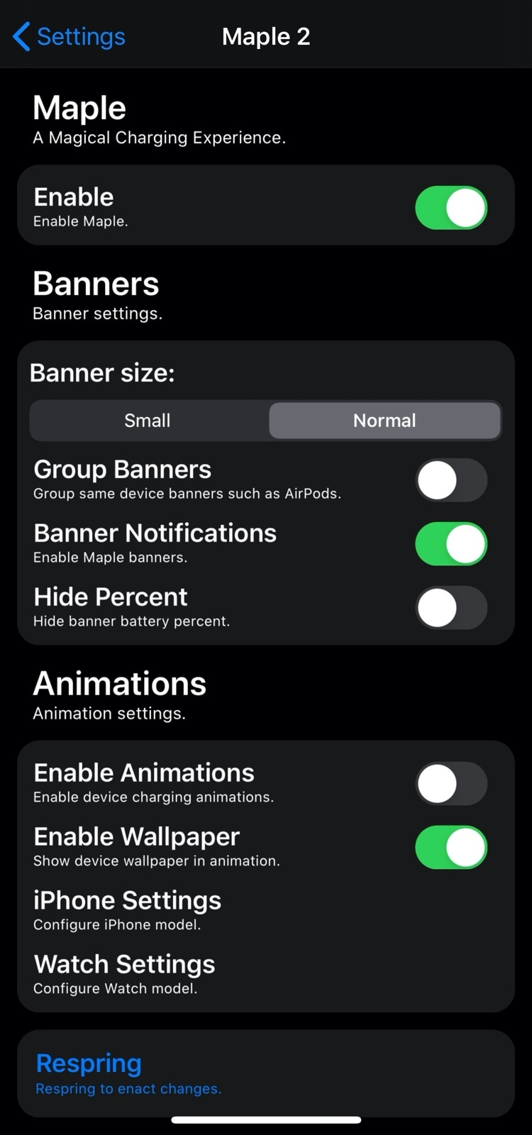 Maple 2 settings