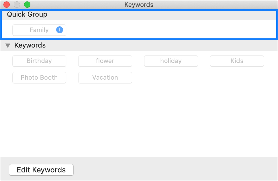 Quick Group Keyword Manager Photos on Mac