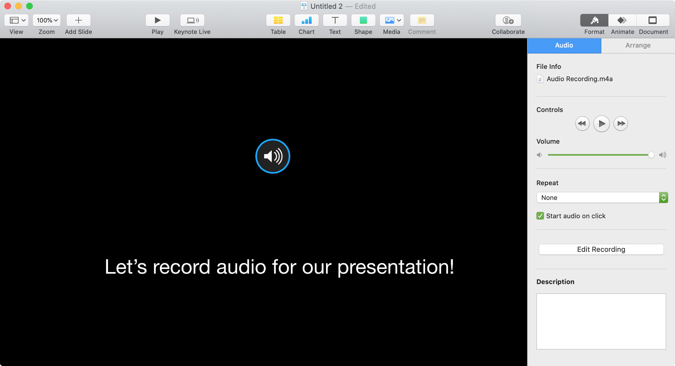 Record Audio Keynote Mac