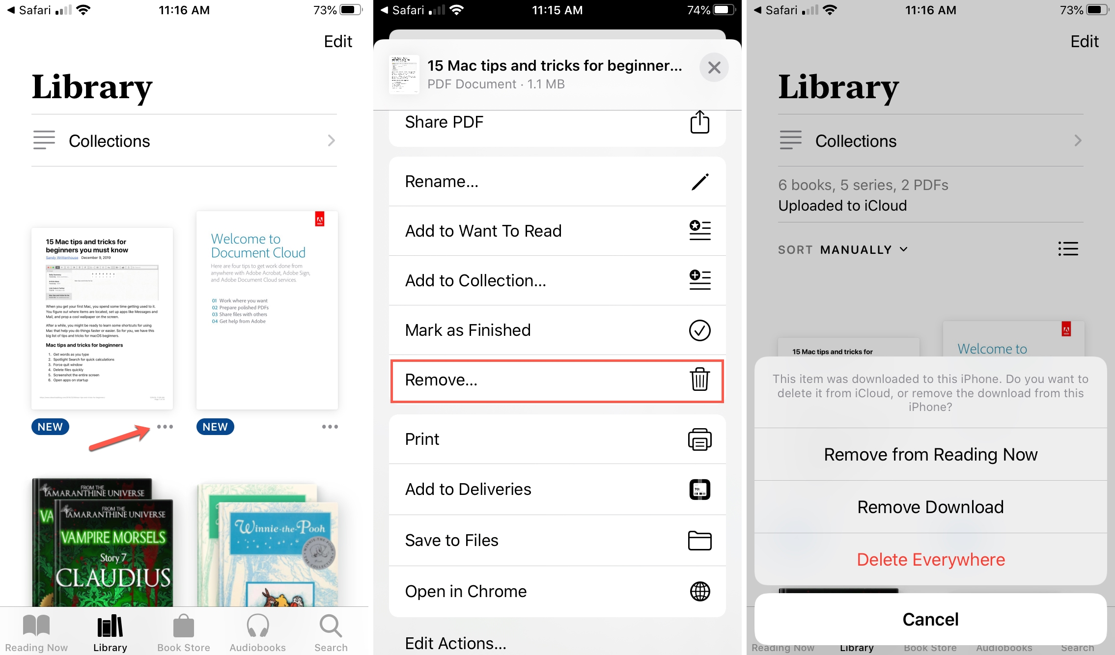 Remove PDF from Books iPhone