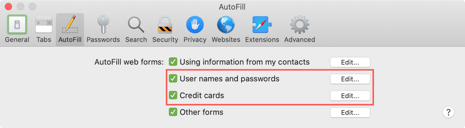 Safari Mac Settings Autofill