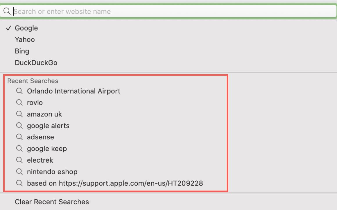 Safari Recent Searches Mac