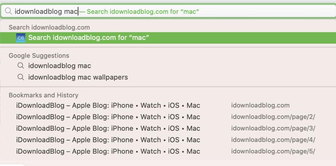 Safari Search Previous Site Mac