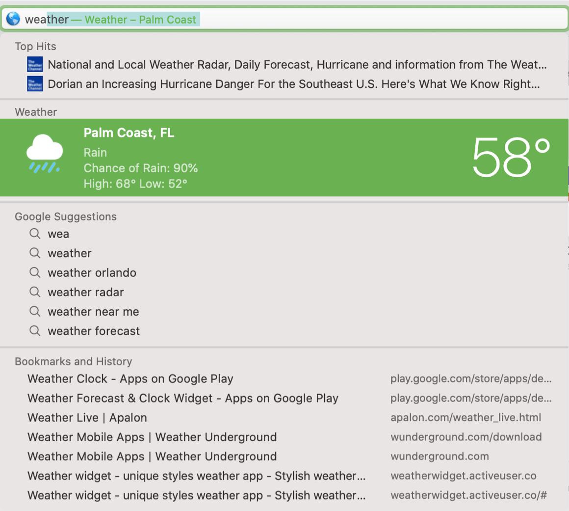 Safari Search Weather Mac