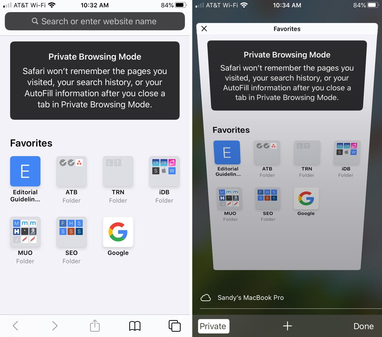 Safari iPhone Private Browsing