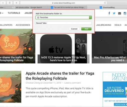 Save Tabs as Bookmarks Safari Mac