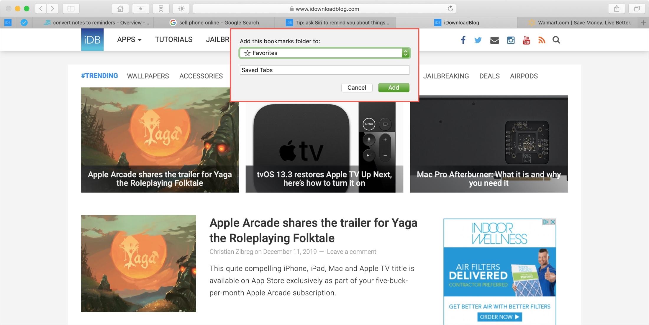 Save Tabs as Bookmarks Safari Mac