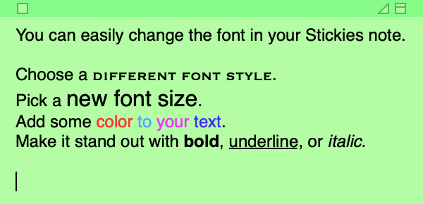 Stickies Change Font