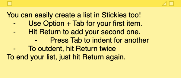 Stickies Create List