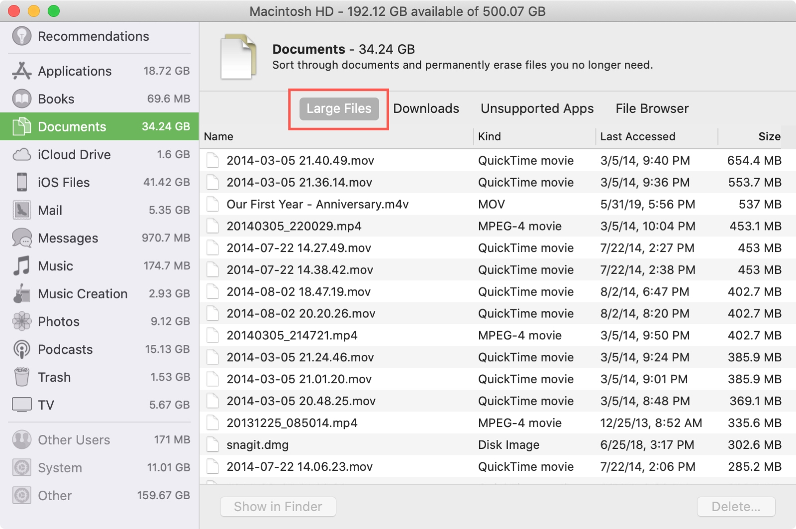 Storage Management Large Files Mac