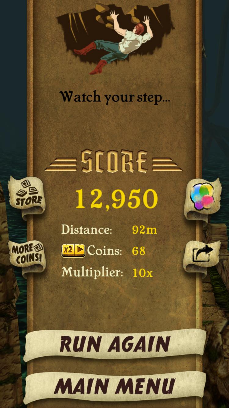 Temple Run score