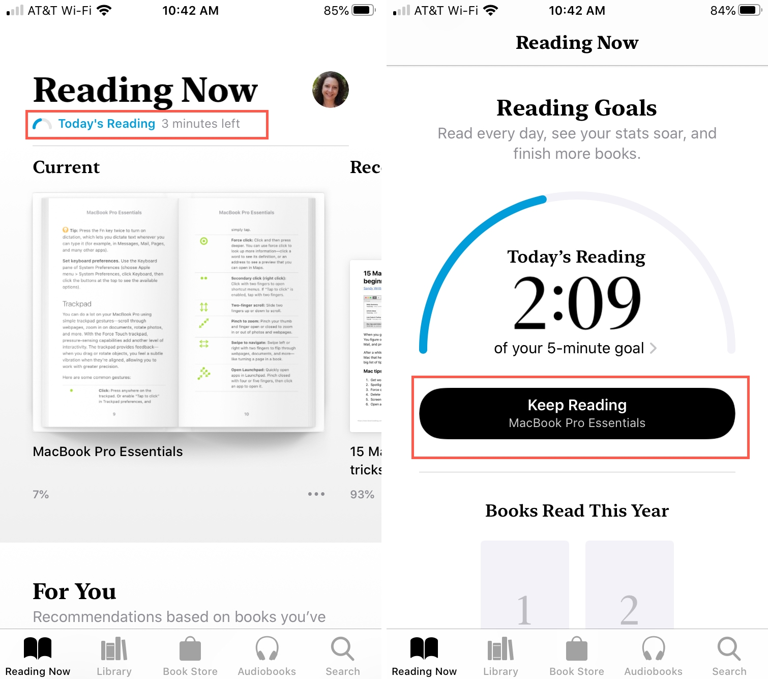 Todays Reading Goal Books iPhone