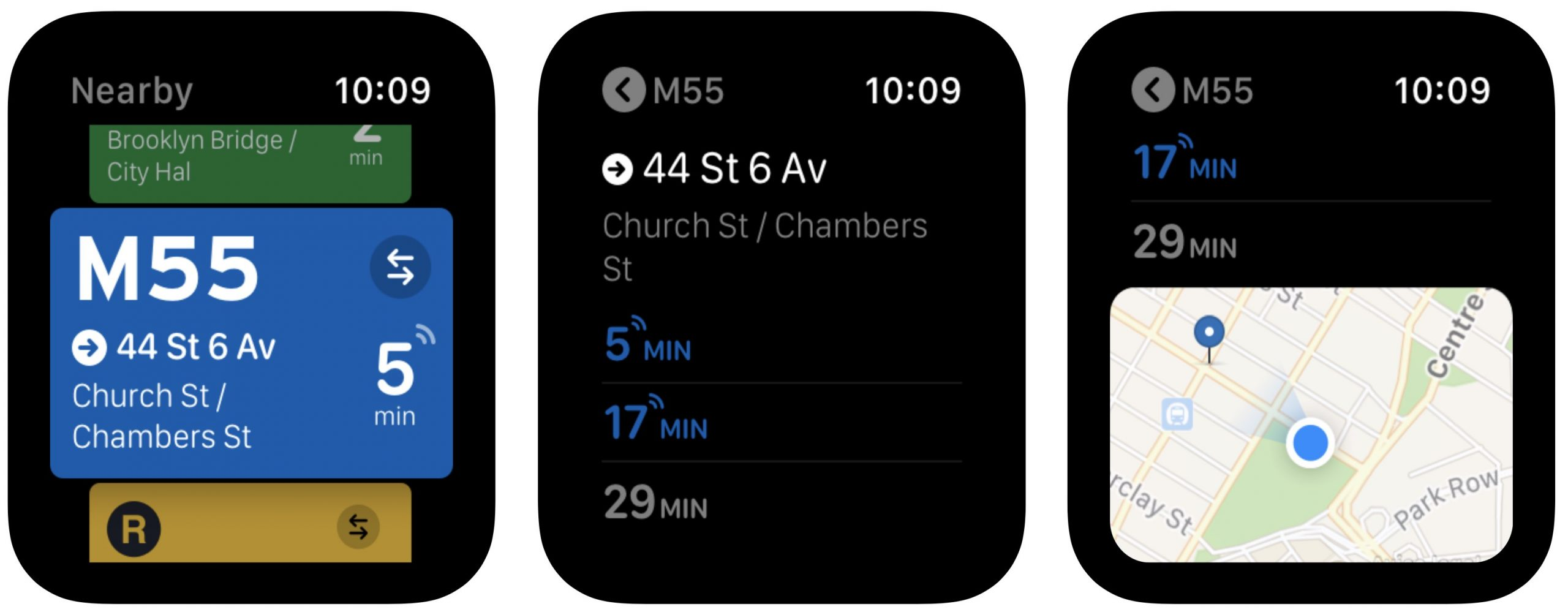 Transit app on Apple Watch