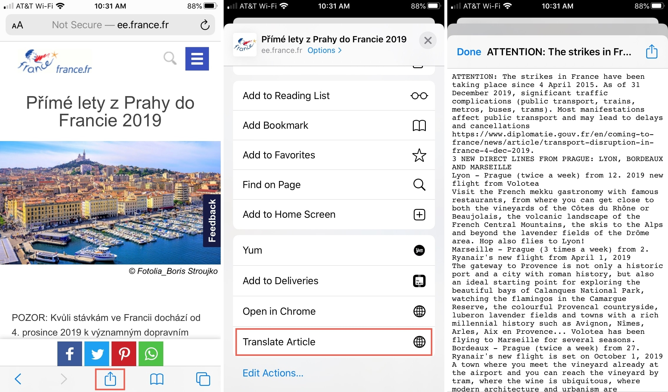 How to create a Shortcut to translate articles in Safari on iOS