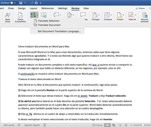 Word Translate Document on Mac