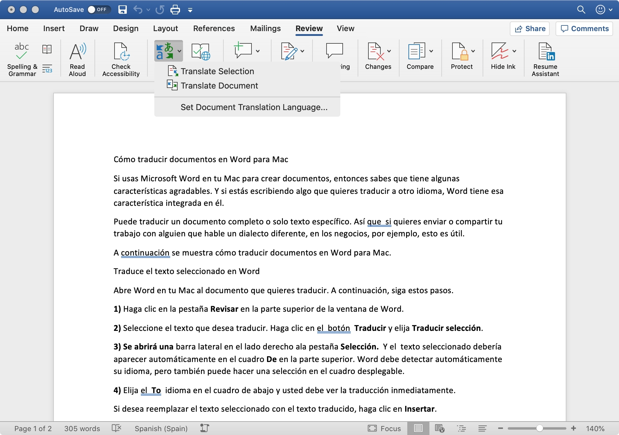 Word Translate Document on Mac