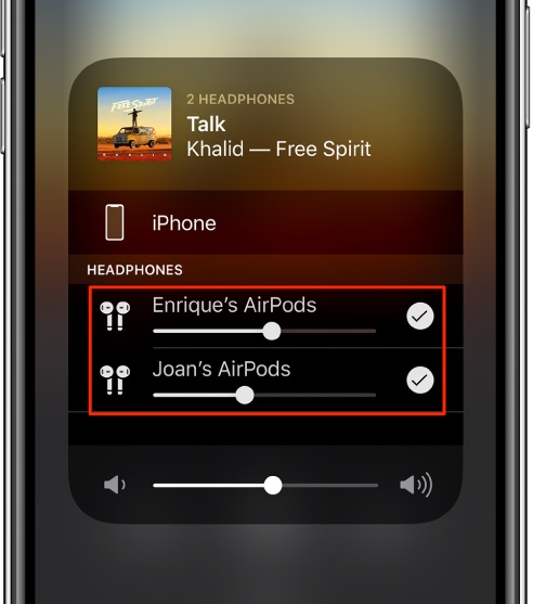 share audio with AirPods