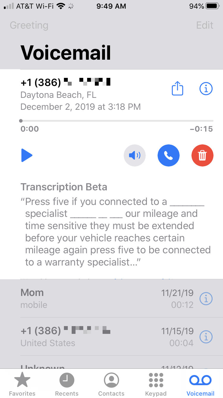 iPhone Voicemail Actions