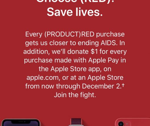 Apple Store app Product Red landing page